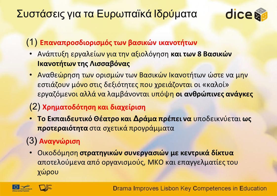 Συστάσεις για τα Ευρωπαϊκά Ιδρύματα (1) Επαναπροσδιορισμός των βασικών ικανοτήτων • Ανάπτυξη εργαλείων για την αξιολόγηση και των 8 Βασικών Ικανοτήτων της Λισσαβόνας • Αναθεώρηση των ορισμών των Βασικών Ικανοτήτων ώστε να μην εστιάζουν μόνο στις δεξιότητες που χρειάζονται οι « καλοί » εργαζόμενοι αλλά να λαμβάνονται υπόψη οι ανθρώπινες ανάγκες (2) Χρηματοδότηση και διαχείριση • Το Εκπαιδευτικό Θέατρο και Δ ράμα πρέπει να υποδεικνύεται ως προτεραιότητα στα σχετικά προγράμματα (3) Αναγνώριση • Οικοδόμηση στρατηγικών συνεργασιών με κεντρικά δίκτυα αποτελούμενα από οργανισμούς, ΜΚΟ και επαγγελματίες του χώρου