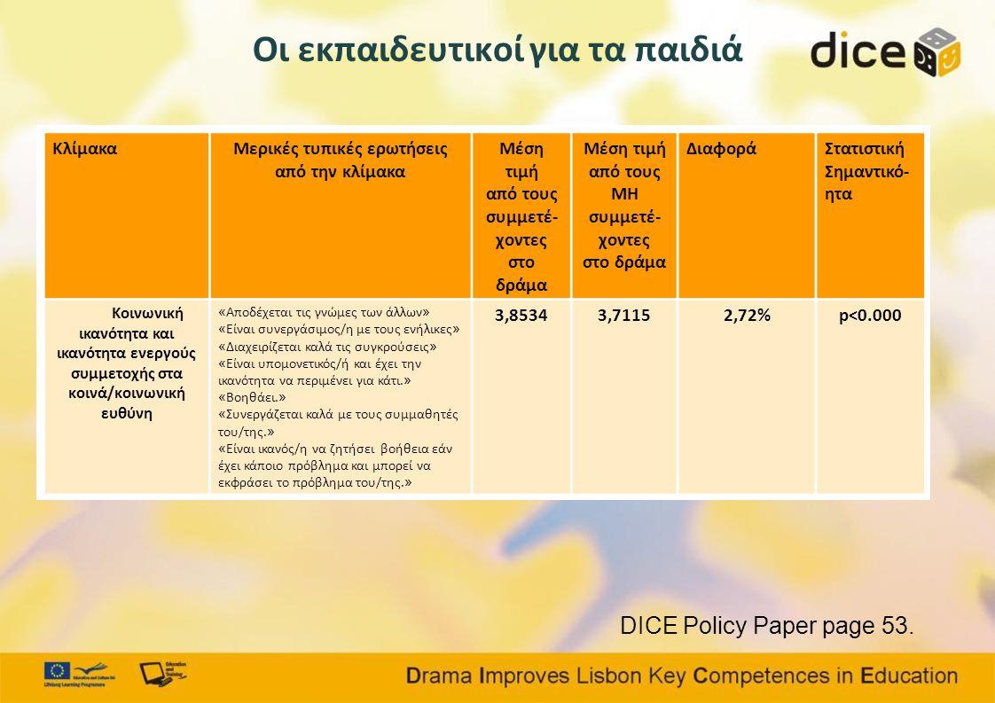 Οι εκπαιδευτικοί για τα παιδιά DICE Policy Paper page 53.