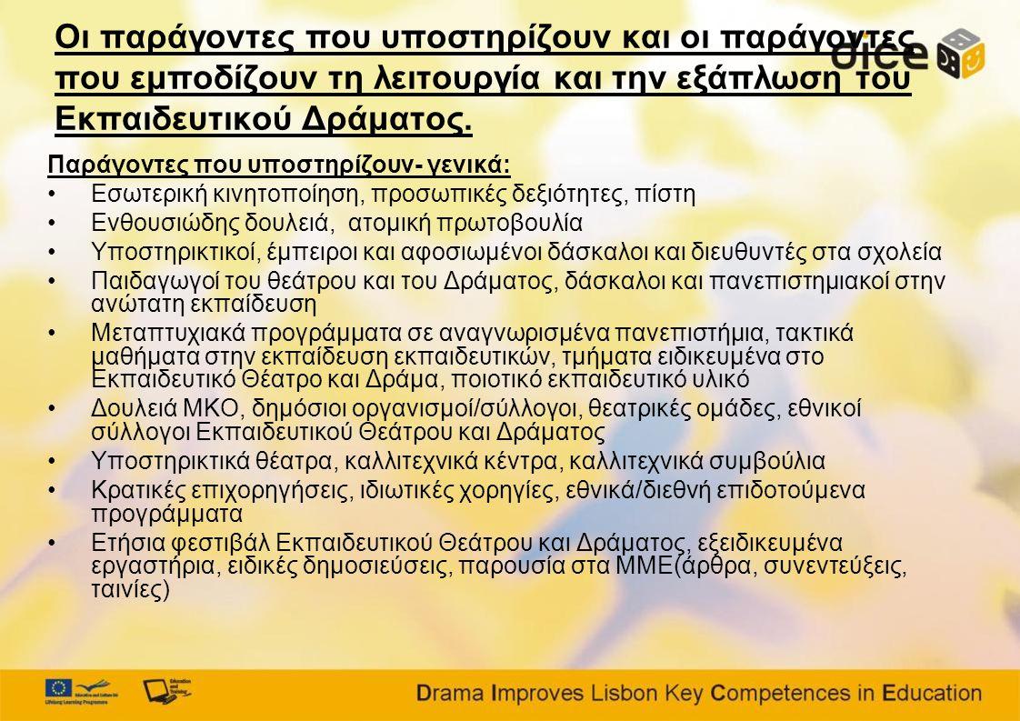 Οι παράγοντες που υποστηρίζουν και οι παράγοντες που εμποδίζουν τη λειτουργία και την εξάπλωση του Εκπαιδευτικού Δράματος.