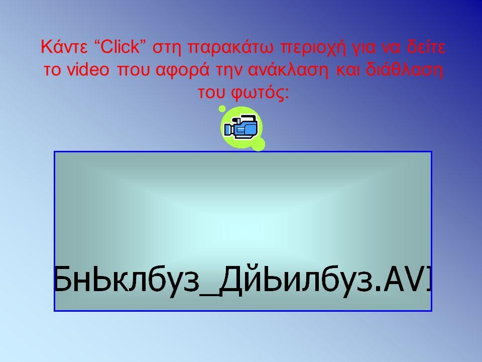 """Κάντε """"Click"""" στη παρακάτω περιοχή για να δείτε το video που αφορά την ανάκλαση και διάθλαση του φωτός:"""
