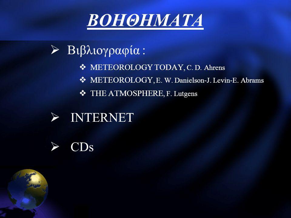 ΒΟΗΘΗΜΑΤΑ  Βιβλιογραφία :  METEOROLOGY TODAY, C. D. Ahrens  METEOROLOGY, E. W. Danielson-J. Levin-E. Abrams  THE ATMOSPHERE, F. Lutgens  INTERNET