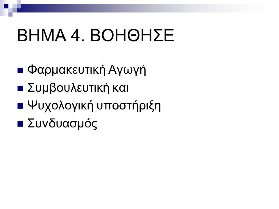 ΒΗΜΑ 4. ΒΟΗΘΗΣΕ  Φαρμακευτική Αγωγή  Συμβουλευτική και  Ψυχολογική υποστήριξη  Συνδυασμός