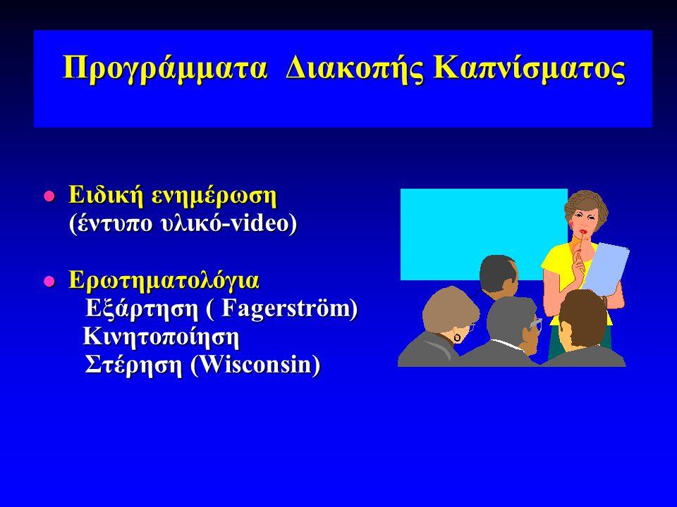Προγράμματα Διακοπής Καπνίσματος  Ειδική ενημέρωση (έντυπο υλικό-video) (έντυπο υλικό-video)  Ερωτηματολόγια Εξάρτηση ( Fagerström) Κινητοποίηση Κιν