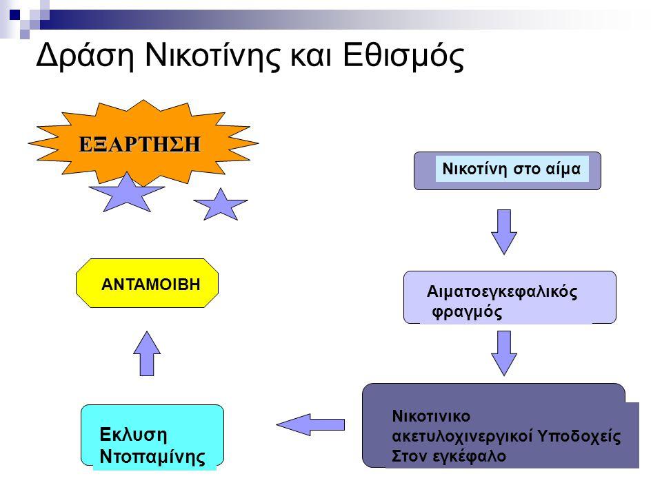 Δράση Νικοτίνης και Εθισμός Νικοτίνη στο αίμα Αιματοεγκεφαλικός φραγμός Νικοτινικο ακετυλοχινεργικοί Υποδοχείς Στον εγκέφαλο Εκλυση Ντοπαμίνης ΕΞΑΡΤΗΣ