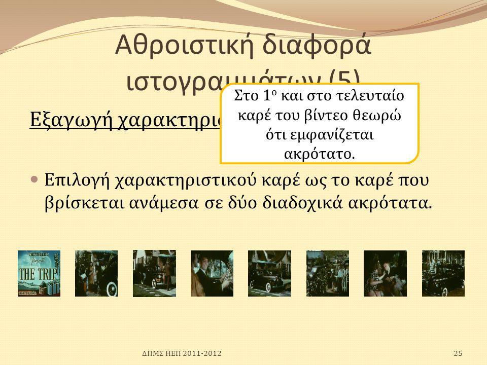 Αθροιστική διαφορά ιστογραμμάτων (5) Εξαγωγή χαρακτηριστικών καρέ  Επιλογή χαρακτηριστικού καρέ ως το καρέ που βρίσκεται ανάμεσα σε δύο διαδοχικά ακρ