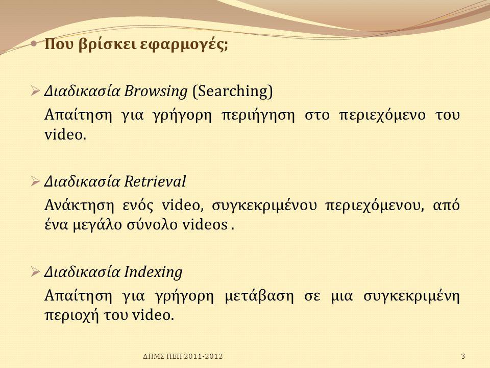  Που βρίσκει εφαρμογές;  Διαδικασία Browsing (Searching) Απαίτηση για γρήγορη περιήγηση στο περιεχόμενο του video.  Διαδικασία Retrieval Ανάκτηση ε