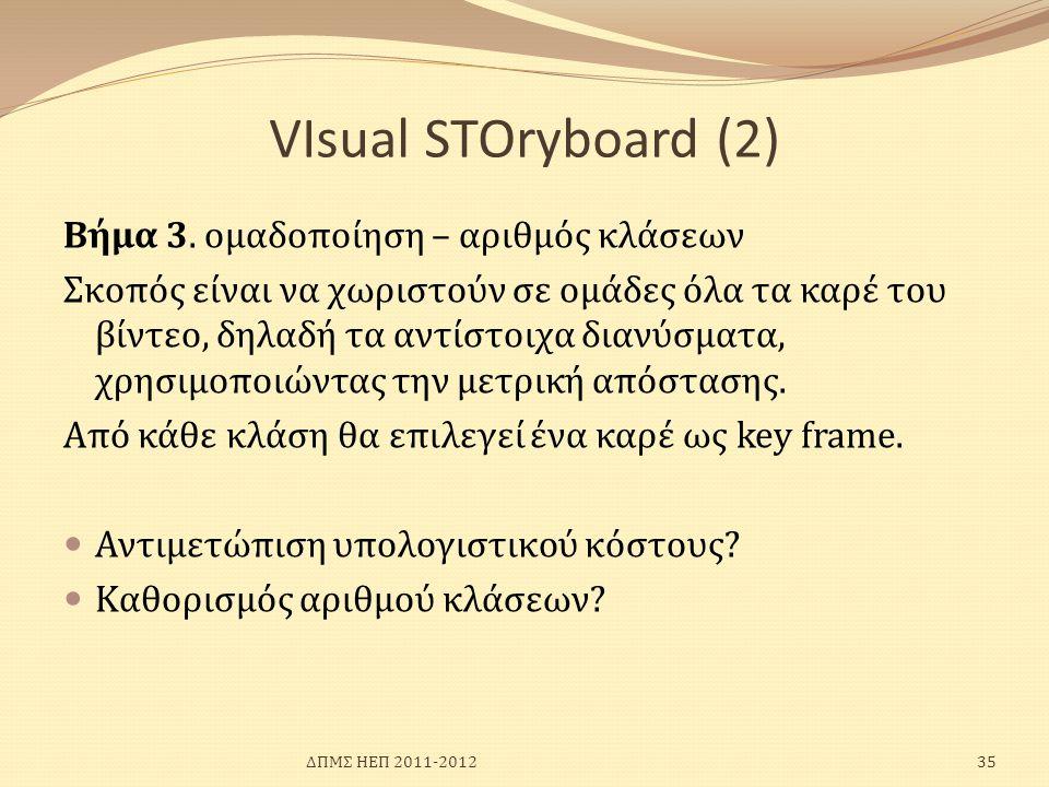 VIsual SΤΟryboard (2) Bήμα 3. ομαδοποίηση – αριθμός κλάσεων Σκοπός είναι να χωριστούν σε ομάδες όλα τα καρέ του βίντεο, δηλαδή τα αντίστοιχα διανύσματ