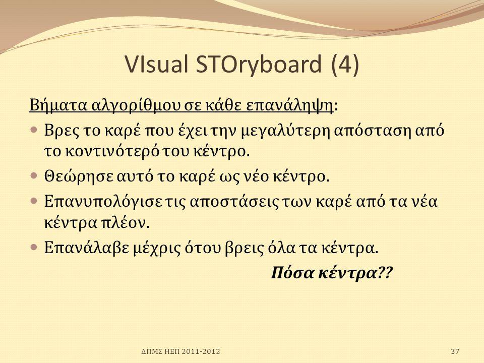 VIsual SΤΟryboard (4) Βήματα αλγορίθμου σε κάθε επανάληψη:  Βρες το καρέ που έχει την μεγαλύτερη απόσταση από το κοντινότερό του κέντρο.  Θεώρησε αυ