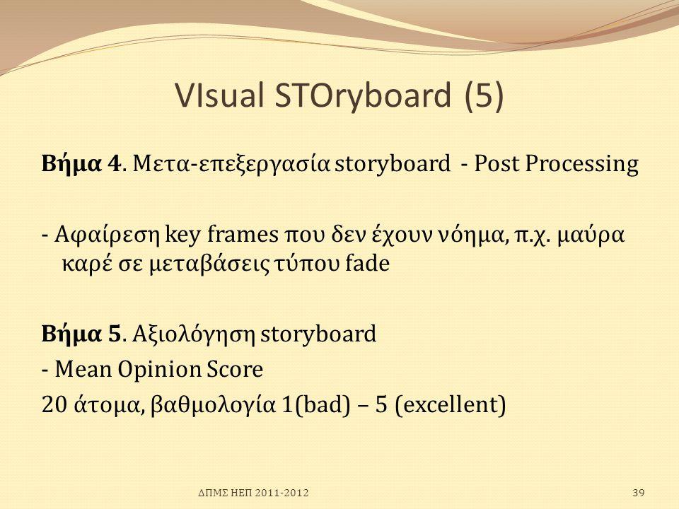 VIsual SΤΟryboard (5) Βήμα 4. Μετα-επεξεργασία storyboard - Post Processing - Αφαίρεση key frames που δεν έχουν νόημα, π.χ. μαύρα καρέ σε μεταβάσεις τ