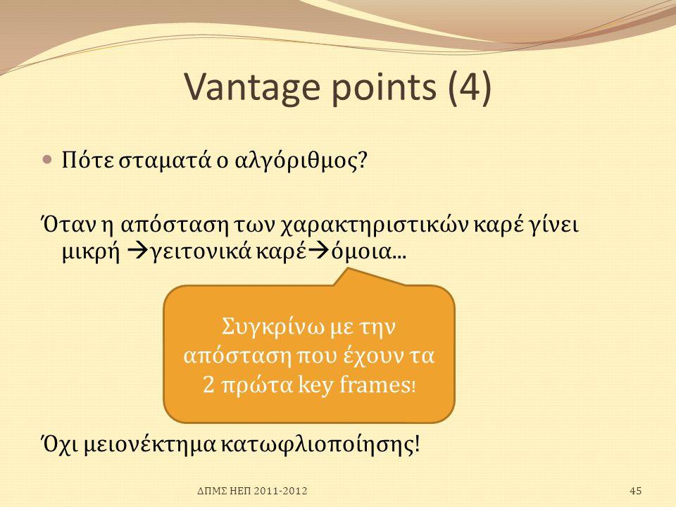 Vantage points (4)  Πότε σταματά ο αλγόριθμος? Όταν η απόσταση των χαρακτηριστικών καρέ γίνει μικρή  γειτονικά καρέ  όμοια... Όχι μειονέκτημα κατωφ