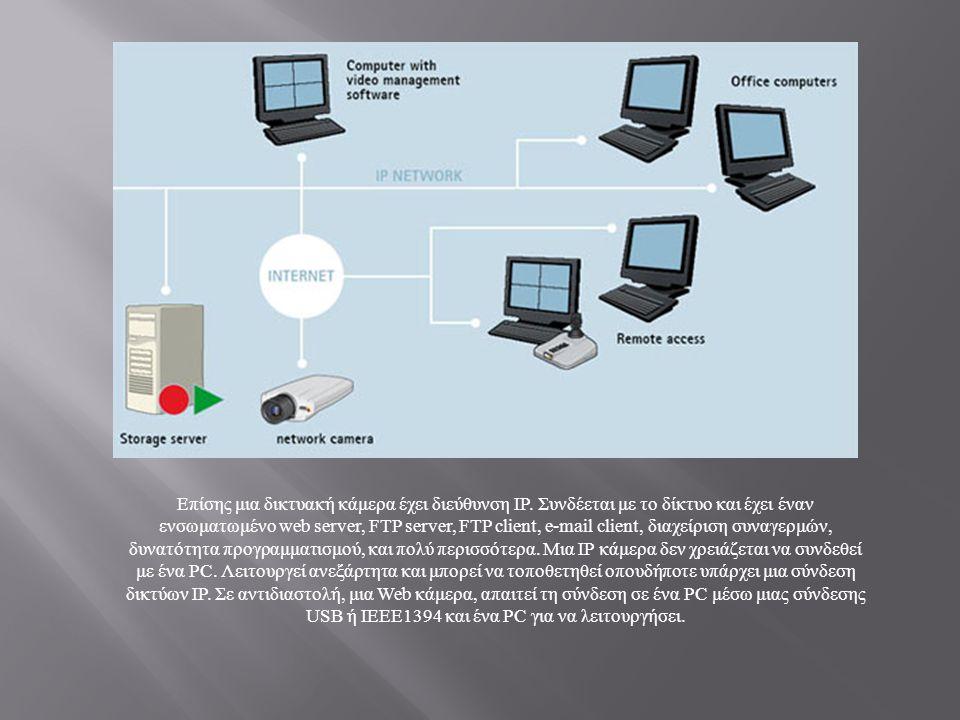 Επίσης μια δικτυακή κάμερα έχει διεύθυνση IP. Συνδέεται με το δίκτυο και έχει έναν ενσωματωμένο web server, FTP server, FTP client, e-mail client, δια