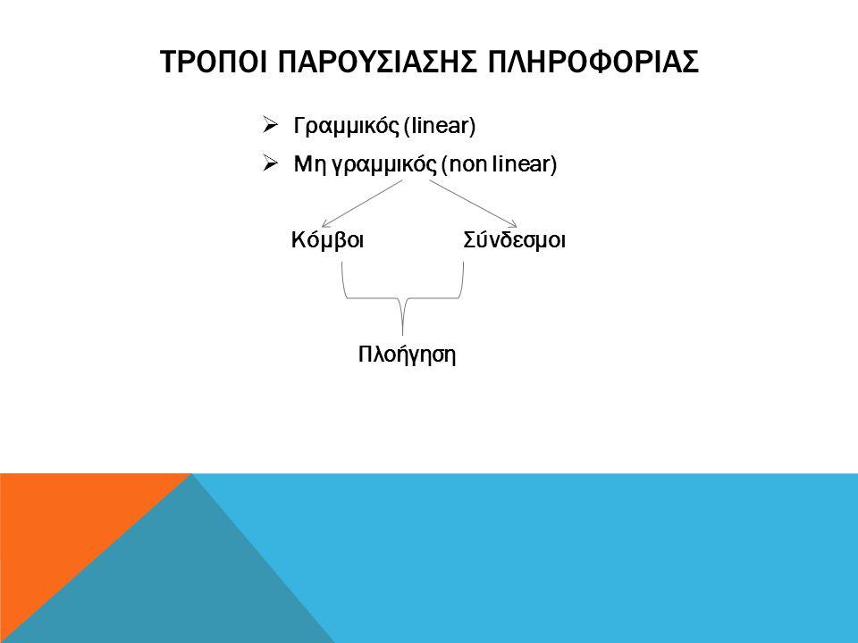 ΤΡΟΠΟΙ ΠΑΡΟΥΣΙΑΣΗΣ ΠΛΗΡΟΦΟΡΙΑΣ  Γραμμικός (linear)  Μη γραμμικός (non linear) Κόμβοι Σύνδεσμοι Πλοήγηση