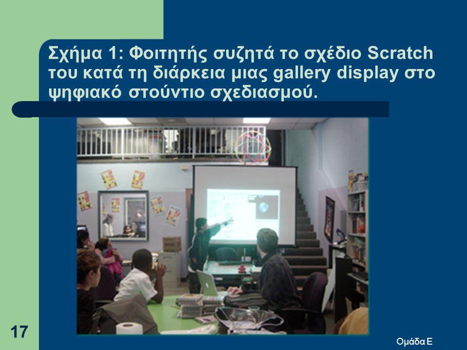 Σχήμα 1: Φοιτητής συζητά το σχέδιο Scratch του κατά τη διάρκεια μιας gallery display στο ψηφιακό στούντιο σχεδιασμού.