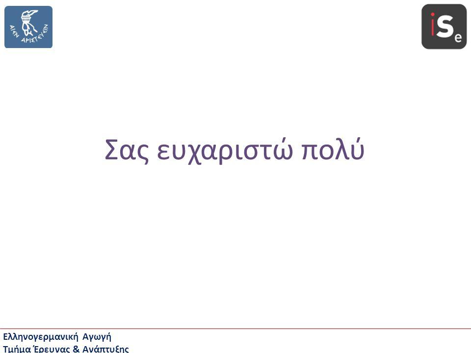 Ελληνογερμανική Αγωγή Τμήμα Έρευνας & Ανάπτυξης Σας ευχαριστώ πολύ