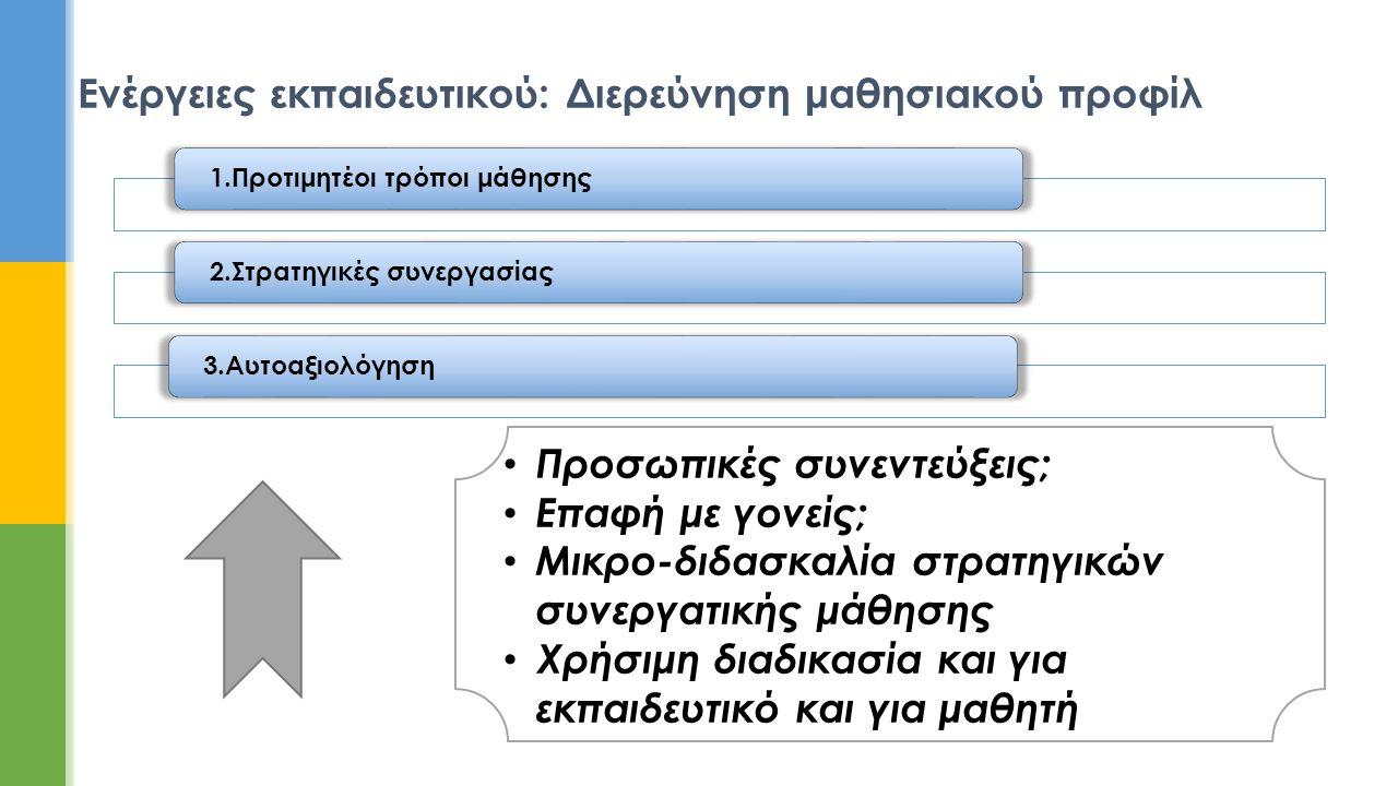 Ενέργειες εκπαιδευτικού: Διερεύνηση μαθησιακού προφίλ 1.Προτιμητέοι τρόποι μάθησης2.Στρατηγικές συνεργασίας3.Αυτοαξιολόγηση • Προσωπικές συνεντεύξεις;