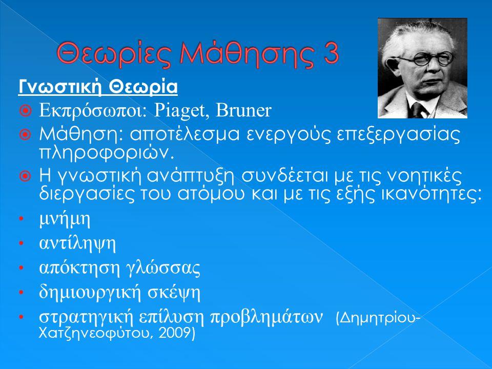 Κοινωνικοπολιτισμική θεωρία  Εκπρόσωποι: Vygotsky και Bandura  Μάθηση: αποτέλεσμα παρατήρησης και μίμησης. (Μπασέτας, 2011)  Ζώνη Εγγύτερης Ανάπτυξ