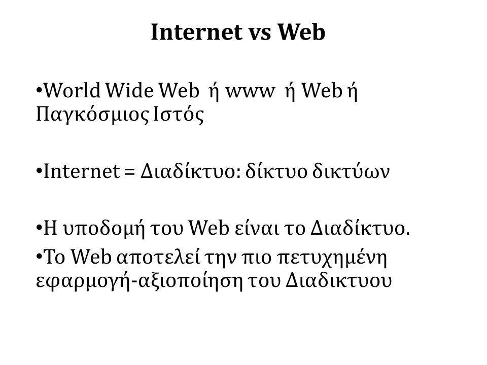 Internet vs Web • World Wide Web ή www ή Web ή Παγκόσμιος Ιστός • Internet = Διαδίκτυο: δίκτυο δικτύων • Η υποδομή του Web είναι το Διαδίκτυο.