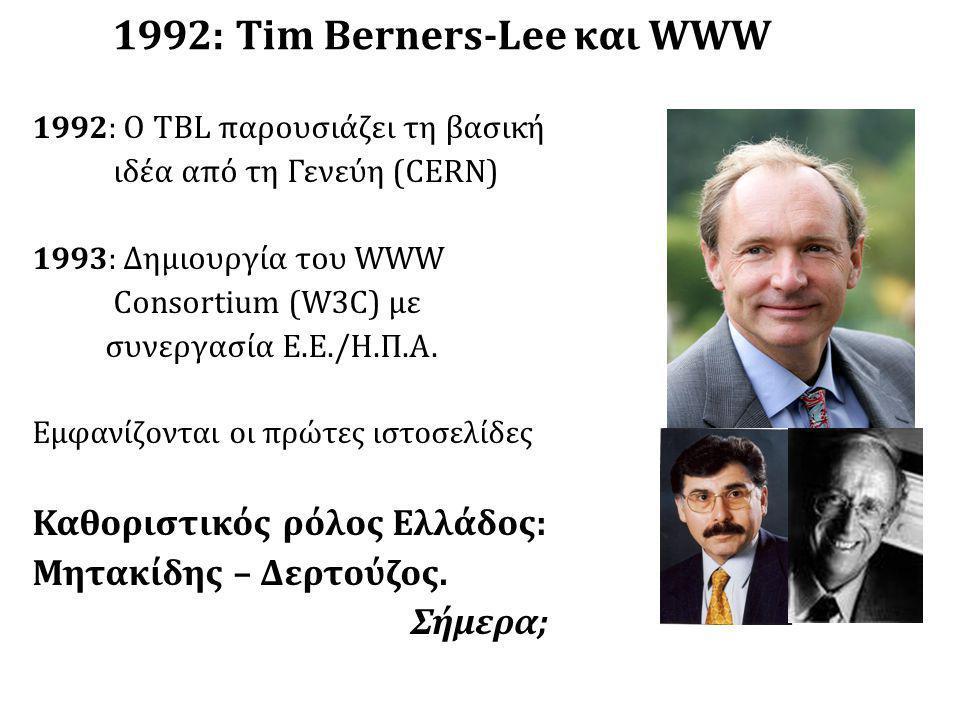1992: Tim Berners-Lee και WWW 1992: O TBL παρουσιάζει τη βασική ιδέα από τη Γενεύη (CERN) 1993: Δημιουργία του WWW Consortium (W3C) με συνεργασία Ε.Ε./Η.Π.Α.