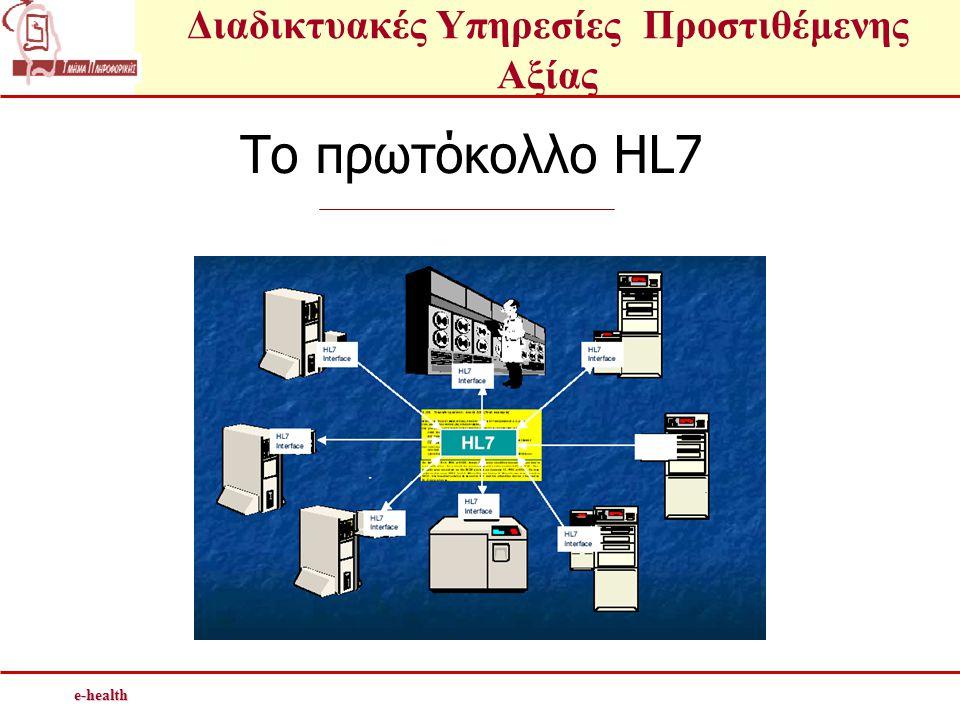 Διαδικτυακές Υπηρεσίες Προστιθέμενης Αξίαςe-health To πρωτόκολλο HL7