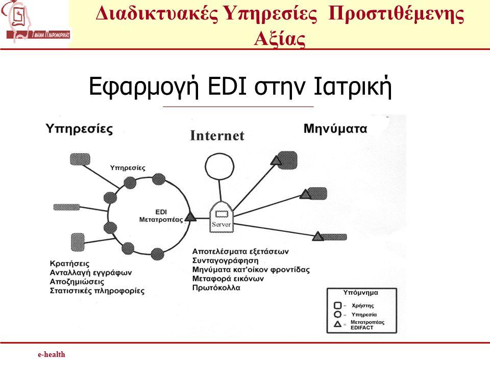 Διαδικτυακές Υπηρεσίες Προστιθέμενης Αξίαςe-health Εφαρμογή EDI στην Ιατρική