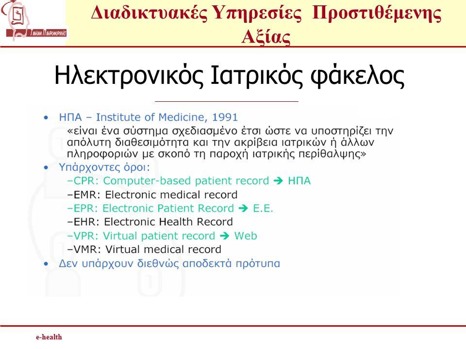 Διαδικτυακές Υπηρεσίες Προστιθέμενης Αξίαςe-health Ηλεκτρονικός Ιατρικός φάκελος