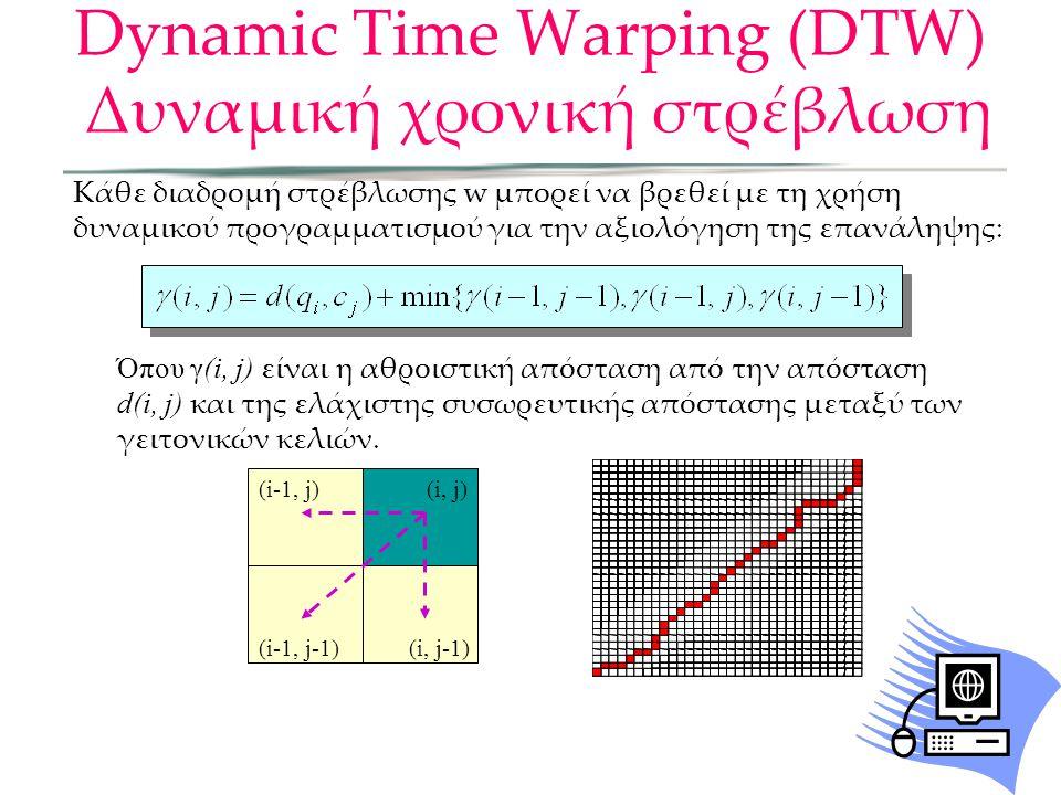 Κάθε διαδρομή στρέβλωσης w μπορεί να βρεθεί με τη χρήση δυναμικού προγραμματισμού για την αξιολόγηση της επανάληψης: Όπου γ(i, j) είναι η αθροιστική απόσταση από την απόσταση d(i, j) και της ελάχιστης συσωρευτικής απόστασης μεταξύ των γειτονικών κελιών.