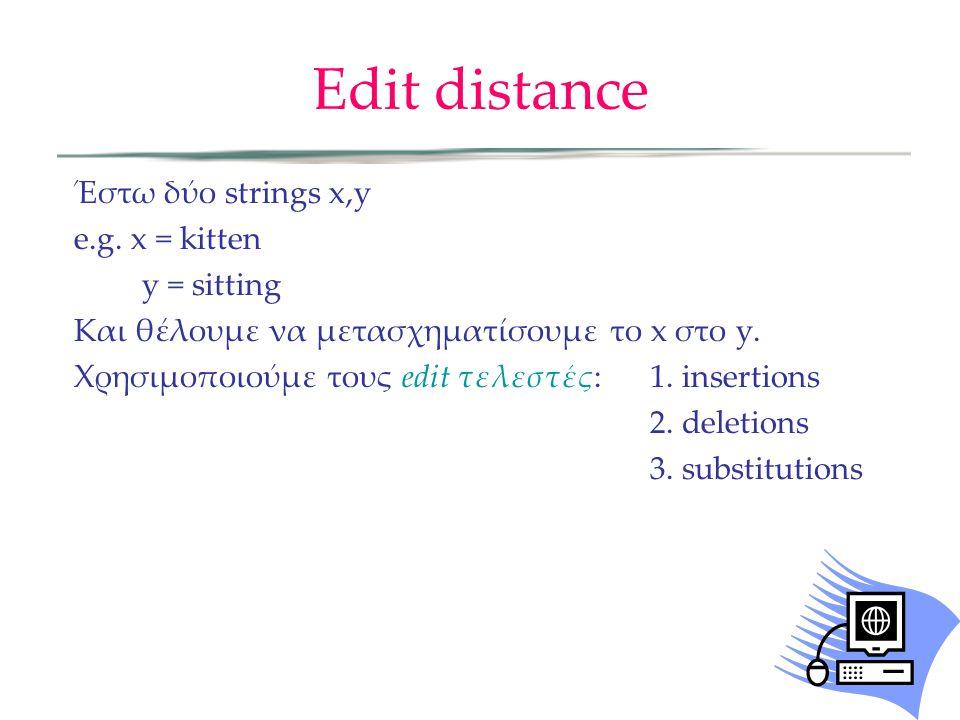 Edit distance Έστω δύο strings x,y e.g.