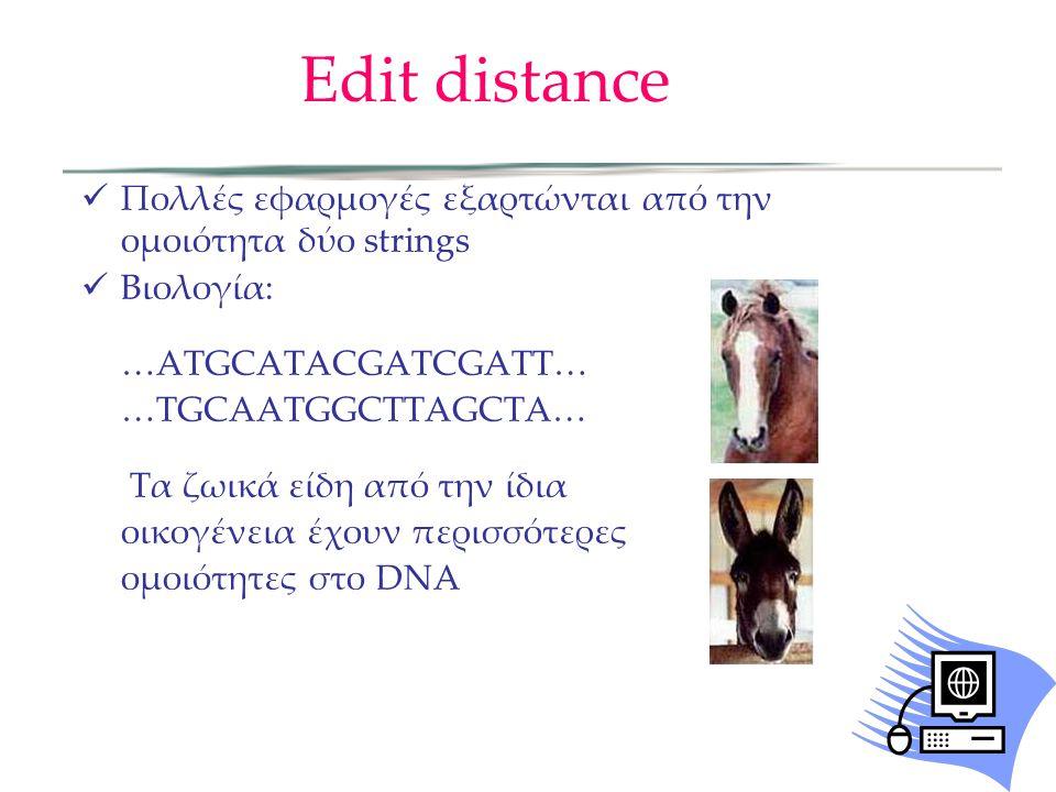 Edit distance  Πολλές εφαρμογές εξαρτώνται από την ομοιότητα δύο strings  Βιολογία: …ATGCATACGATCGATT… …TGCAATGGCTTAGCTA… Τα ζωικά είδη από την ίδια οικογένεια έχουν περισσότερες ομοιότητες στο DNA