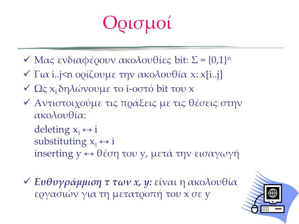 Ορισμοί  Μας ενδιαφέρουν ακολουθίες bit: Σ = {0,1} n  Για i..j<n ορίζουμε την ακολουθία x: x[i..j]  Ως x i δηλώνουμε το i-οστό bit του x  Αντιστοιχούμε τις πράξεις με τις θέσεις στην ακολουθία: deleting x i ↔ i substituting x i ↔ i inserting y ↔ θέση του y, μετά την εισαγωγή  Ευθυγράμμιση τ των x, y: είναι η ακολουθία εργασιών για τη μετατροπή του x σε y
