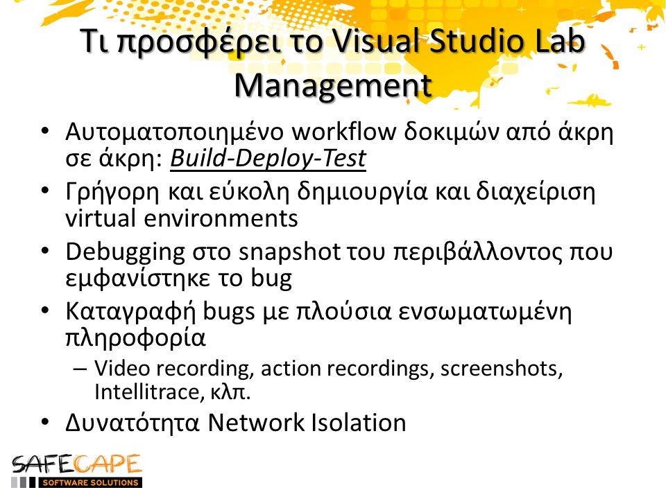 Τι προσφέρει το Visual Studio Lab Management • Αυτοματοποιημένο workflow δοκιμών από άκρη σε άκρη: Build-Deploy-Test • Γρήγορη και εύκολη δημιουργία και διαχείριση virtual environments • Debugging στο snapshot του περιβάλλοντος που εμφανίστηκε το bug • Καταγραφή bugs με πλούσια ενσωματωμένη πληροφορία – Video recording, action recordings, screenshots, Intellitrace, κλπ.