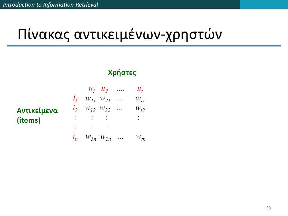 Introduction to Information Retrieval 30 Πίνακας αντικειμένων-χρηστών u 1 u 2 ….