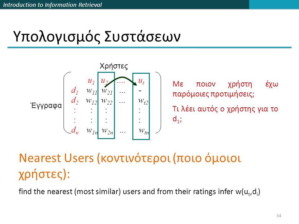 Introduction to Information Retrieval 34 Υπολογισμός Συστάσεων u 1 u 2 ….