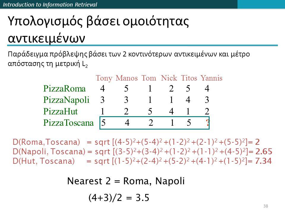 Introduction to Information Retrieval 38 Υπολογισμός βάσει ομοιότητας αντικειμένων Tony Manos Tom Nick Titos Yannis PizzaRoma 4 5 1 2 5 4 PizzaNapoli