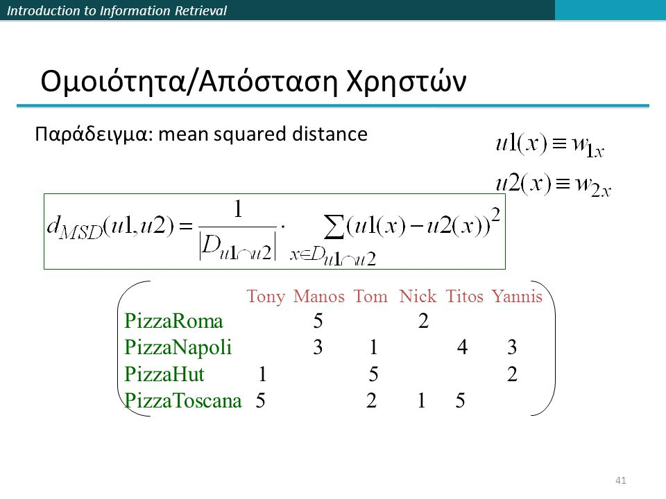 Introduction to Information Retrieval 41 Ομοιότητα/Απόσταση Χρηστών Tony Manos Tom Nick Titos Yannis PizzaRoma 5 2 PizzaNapoli 3 1 4 3 PizzaHut 1 5 2 PizzaToscana 5 2 1 5 Παράδειγμα: mean squared distance