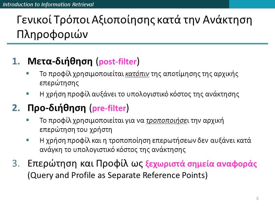 Introduction to Information Retrieval 27 Κλασική ανάκτηση κειμένου Όροι k 1 k 2 ….