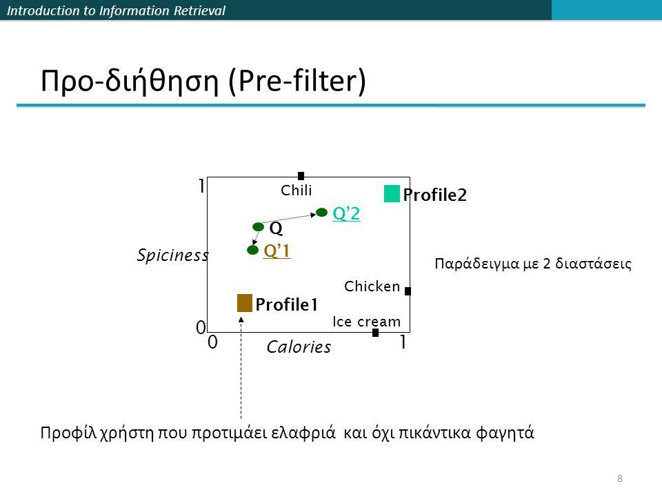 Introduction to Information Retrieval 9 Τεχνικές τροποποίησης επερωτήσεων (B.1) Simple Linear Transformation (απλός γραμμικός μετασχηματισμός)  Μετακινεί το διάνυσμα προς την κατεύθυνση του προφίλ (B.2) Piecewise Linear Transformation  Μετακινεί το διάνυσμα προς την κατεύθυνση του προφίλ βάσει περιπτώσεων