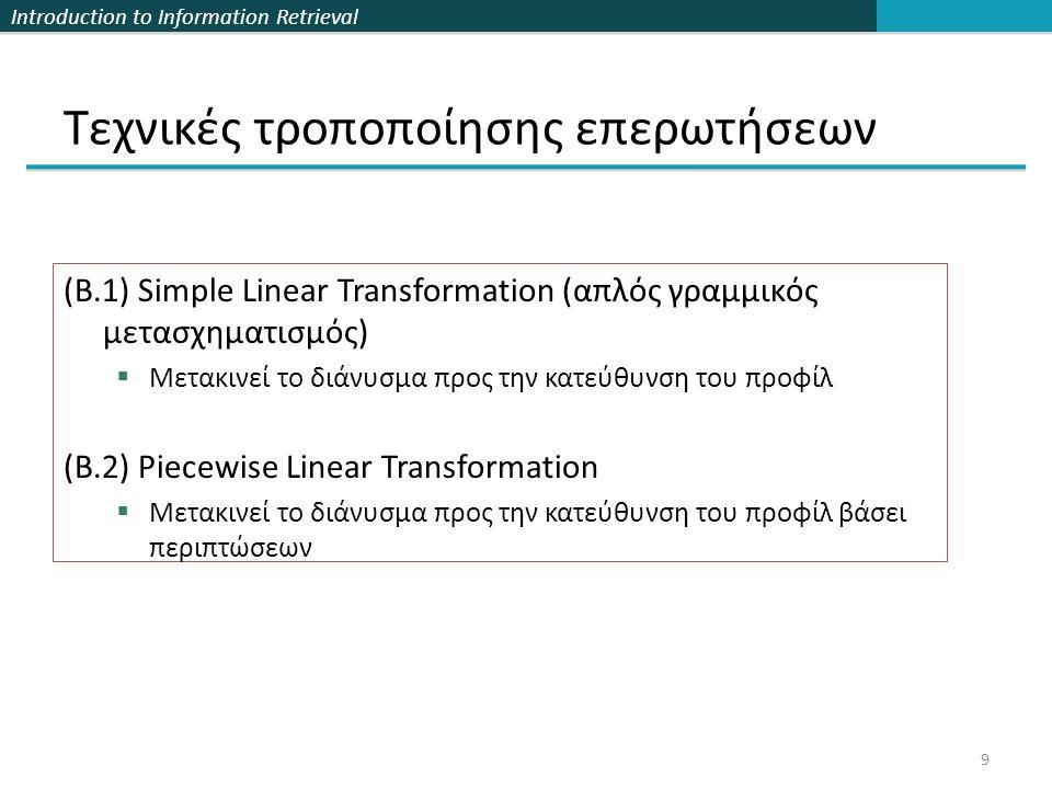 Introduction to Information Retrieval 20 Θα γενικεύσουμε τα μοντέλα του δισδιάστατου χώρου που έχουμε ήδη δει:  min (w1*Dist(d, q), w2* Dist(d, p))  L //διαζευκτικό  max (w1* Dist(d, q), w2* Dist(d, p))  L //συζευκτικό  w1*Dist(d, q) + w2* Dist(d, p)  L //ελλειψοειδές  Dist(d, q) w1 * Dist(d, p) w2  L //Cassini Συγκεκριμένα:  min (w1*Dist(d, R 1 ), …, wn* Dist(d, R n ))  L //διαζευκτικό  max (w1* Dist(d, R 1 ),…, wn* Dist(d, R n ))  L //συζευκτικό  w1*Dist(d, R 1 ) + … + wn* Dist(d, R n )  L //ελλειψοειδές  Dist(d, R 1 ) w1 *…* Dist(d, R n ) wn  L //Cassini ή συνδυασμός των παραπάνω Συστήματα Πολλαπλών Σημείων Αναφοράς