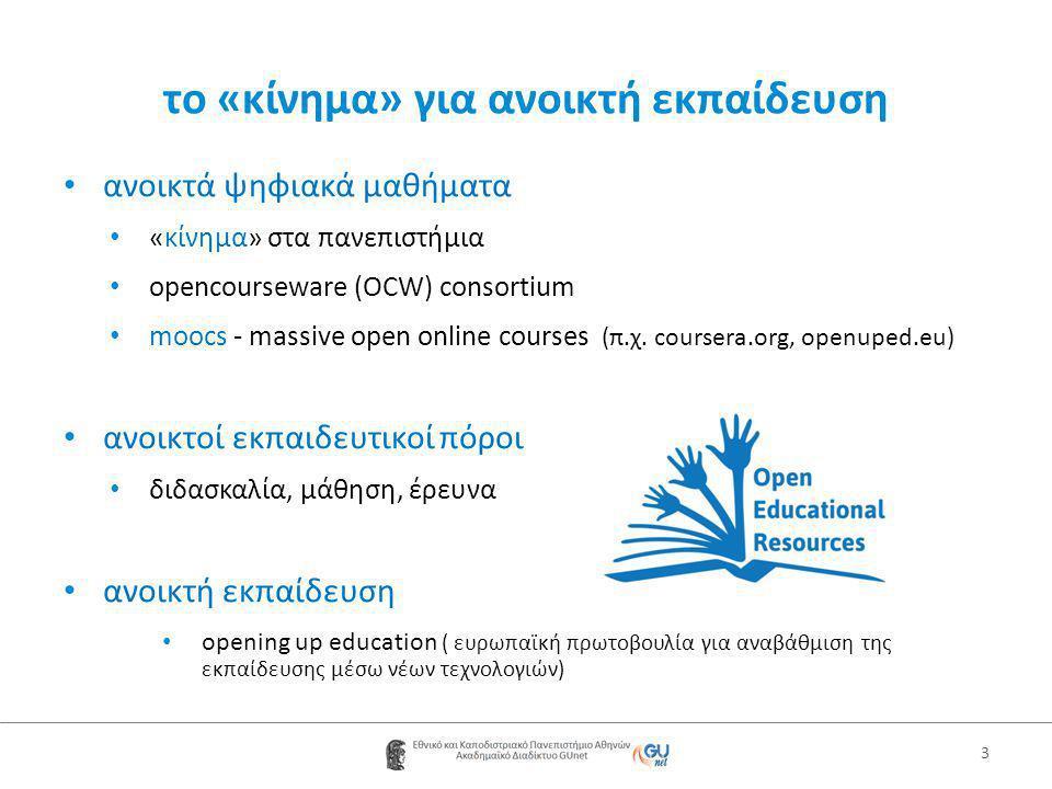 το «κίνημα» για ανοικτή εκπαίδευση • ανοικτά ψηφιακά μαθήματα • «κίνημα» στα πανεπιστήμια • opencourseware (OCW) consortium • moocs - massive open online courses (π.χ.