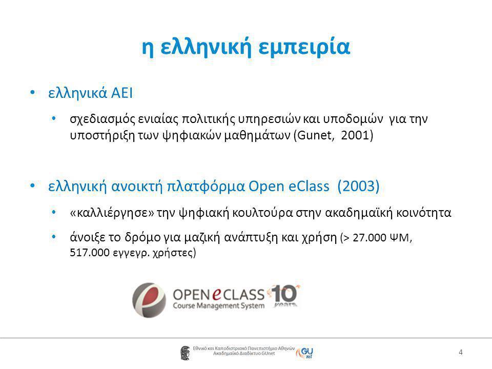 η ελληνική εμπειρία • ελληνικά AEI • σχεδιασμός ενιαίας πολιτικής υπηρεσιών και υποδομών για την υποστήριξη των ψηφιακών μαθημάτων (Gunet, 2001) • ελληνική ανοικτή πλατφόρμα Open eClass (2003) • «καλλιέργησε» την ψηφιακή κουλτούρα στην ακαδημαϊκή κοινότητα • άνοιξε το δρόμο για μαζική ανάπτυξη και χρήση (> 27.000 ΨΜ, 517.000 εγγεγρ.