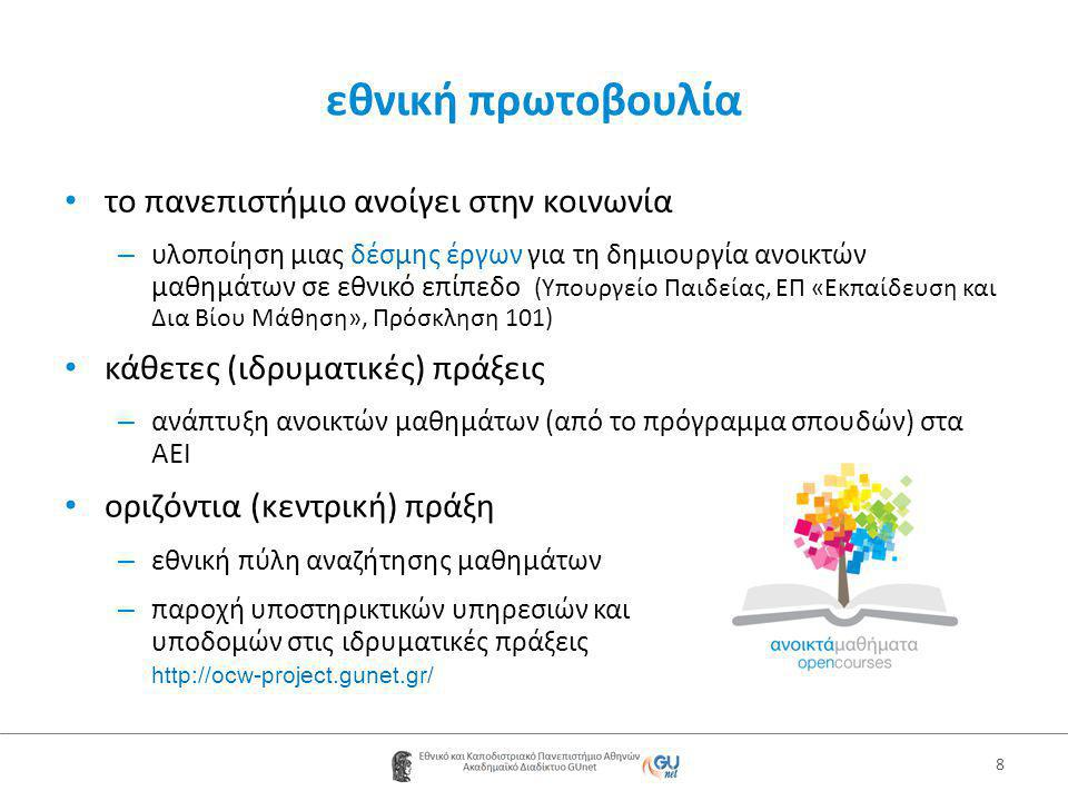 εθνική πρωτοβουλία 8 • το πανεπιστήμιο ανοίγει στην κοινωνία – υλοποίηση μιας δέσμης έργων για τη δημιουργία ανοικτών μαθημάτων σε εθνικό επίπεδο (Υπουργείο Παιδείας, ΕΠ «Εκπαίδευση και Δια Βίου Μάθηση», Πρόσκληση 101) • κάθετες (ιδρυματικές) πράξεις – ανάπτυξη ανοικτών μαθημάτων (από το πρόγραμμα σπουδών) στα ΑΕΙ • οριζόντια (κεντρική) πράξη – εθνική πύλη αναζήτησης μαθημάτων – παροχή υποστηρικτικών υπηρεσιών και υποδομών στις ιδρυματικές πράξεις http://ocw-project.gunet.gr/