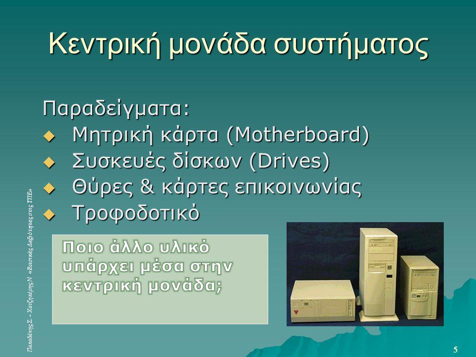 Παπαδάκης Σ. – Χατζηπέρης Ν «Βασικές Δεξιότητες στις ΤΠΕ» 5 5 Κεντρική μονάδα συστήματος Παραδείγματα:  Μητρική κάρτα (Motherboard)  Συσκευές δίσκων