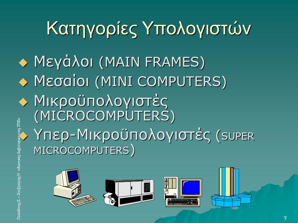 Παπαδάκης Σ. – Χατζηπέρης Ν «Βασικές Δεξιότητες στις ΤΠΕ» 7 7 Κατηγορίες Υπολογιστών  Μεγάλοι (MAIN FRAMES)  Μεσαίοι (MINI COMPUTERS)  Μικροϋπολογι