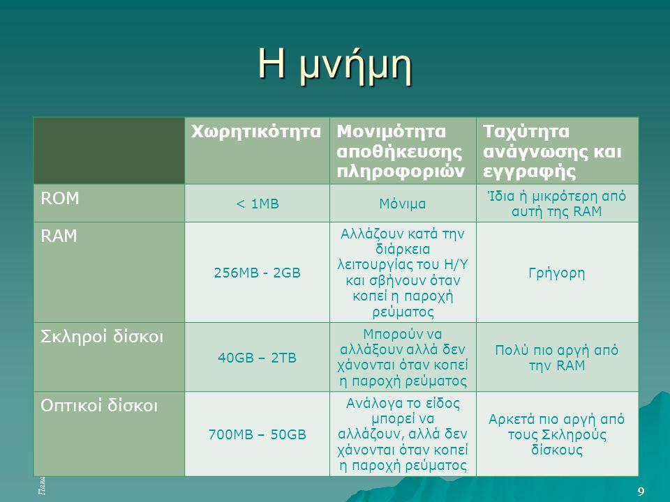 Παπαδάκης Σ. – Χατζηπέρης Ν «Βασικές Δεξιότητες στις ΤΠΕ» 9 9 Η μνήμη ΧωρητικότηταΜονιμότητα αποθήκευσης πληροφοριών Ταχύτητα ανάγνωσης και εγγραφής R