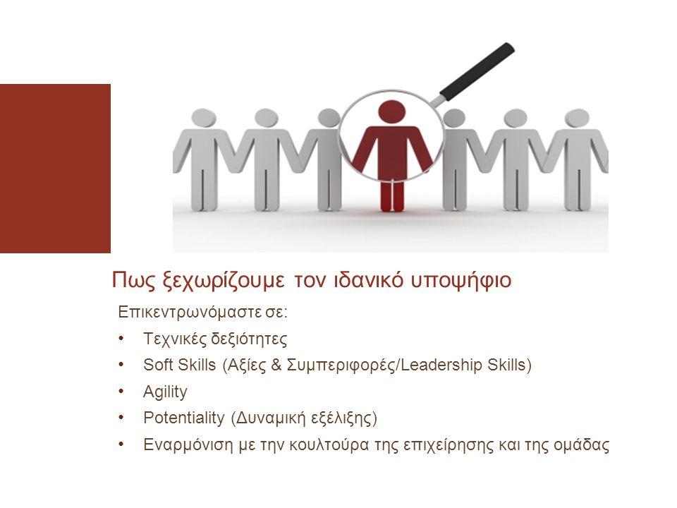 Επικεντρωνόμαστε σε: • Τεχνικές δεξιότητες • Soft Skills (Αξίες & Συμπεριφορές/Leadership Skills) • Agility • Potentiality (Δυναμική εξέλιξης) • Εναρμόνιση με την κουλτούρα της επιχείρησης και της ομάδας Πως ξεχωρίζουμε τον ιδανικό υποψήφιο