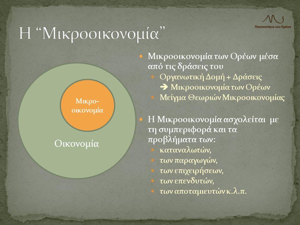  Μικροοικονομία των Ορέων μέσα από τις δράσεις του  Οργανωτική Δομή + Δράσεις  Μικροοικονομία των Ορέων  Μείγμα Θεωριών Μικροοικονομίας  Η Μικροο