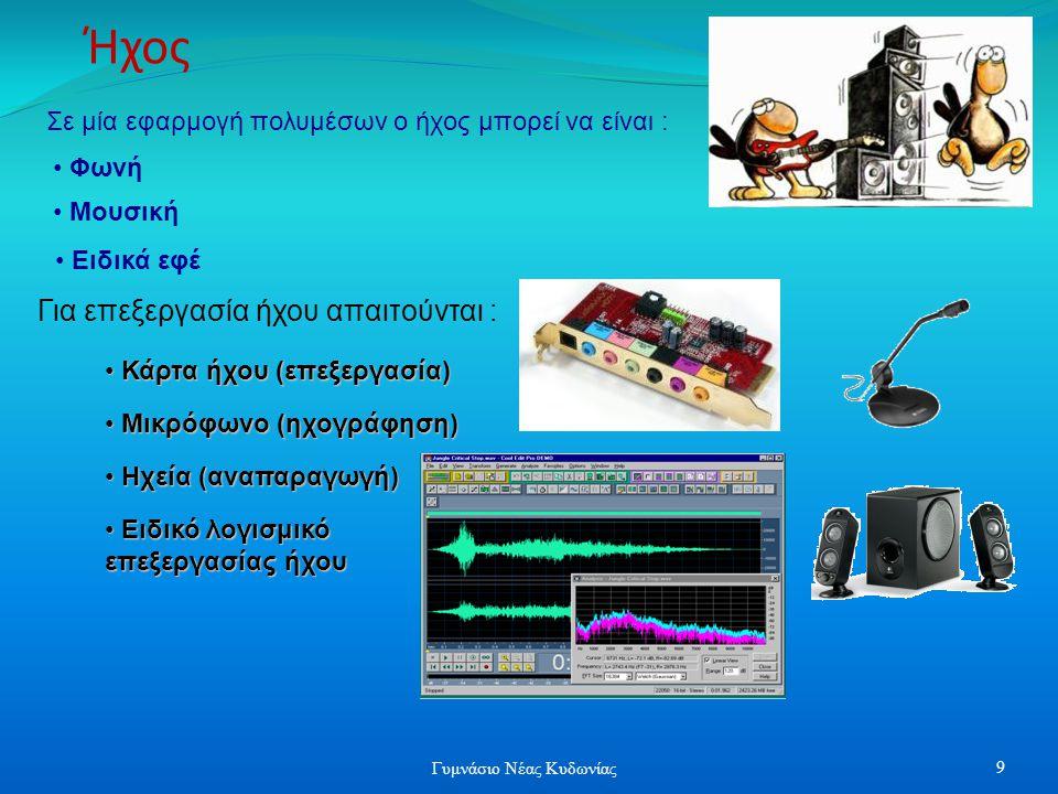 Σε μία εφαρμογή πολυμέσων ο ήχος μπορεί να είναι : • Φωνή • Mουσική • Ειδικά εφέ Ήχος Για επεξεργασία ήχου απαιτούνται : • Μικρόφωνο (ηχογράφηση) • Κάρτα ήχου (επεξεργασία) • Ηχεία (αναπαραγωγή) • Ειδικό λογισμικό επεξεργασίας ήχου 9 Γυμνάσιο Νέας Κυδωνίας
