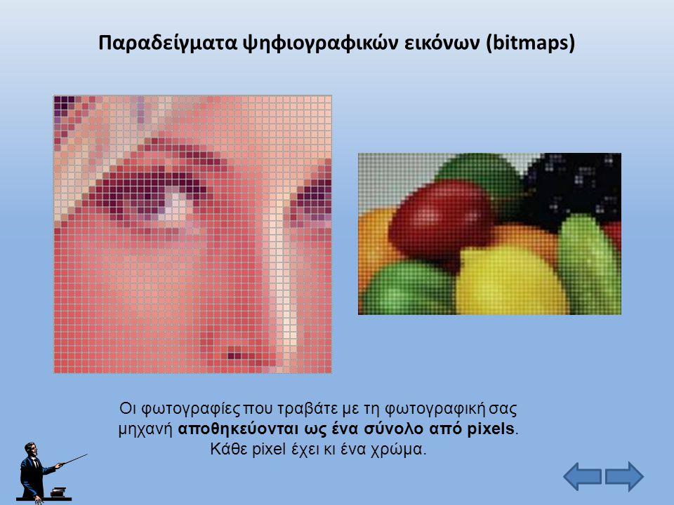 Είδη ψηφιακών εικόνων Ψηφιογραφικές (bitmaps) Διανυσματικές (vectors) Η εικόνα σχηματίζεται από πολύ μικρές κουκίδες που ονομάζονται εικονοστοιχεία (