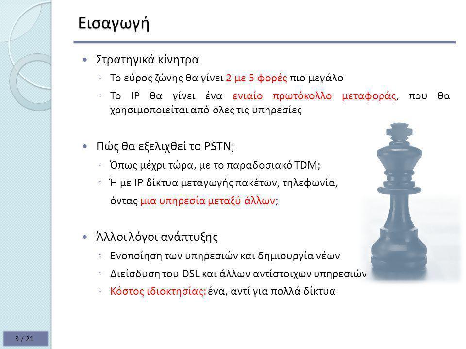 NGN επίπεδα για όλες τις υπηρεσίες Τα επίπεδα των δικτύων νέας γενιάς: 14 / 21