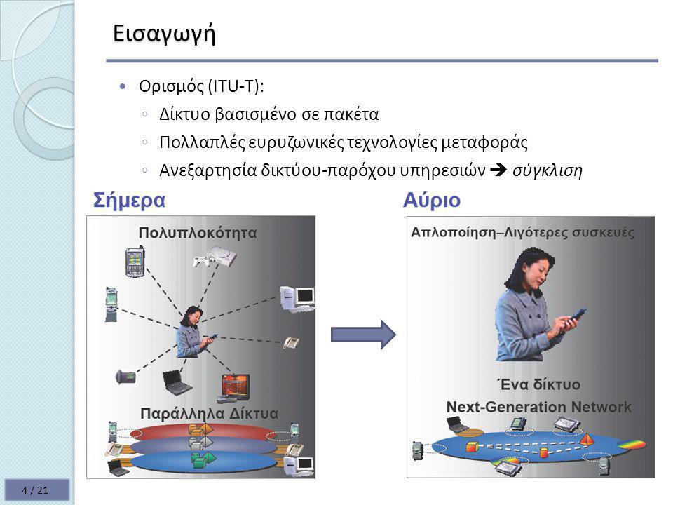 Εισαγωγή  Ορισμός (ITU-T): ◦ Δίκτυο βασισμένο σε πακέτα ◦ Πολλαπλές ευρυζωνικές τεχνολογίες μεταφοράς ◦ Ανεξαρτησία δικτύου-παρόχου υπηρεσιών  σύγκλιση 4 / 21