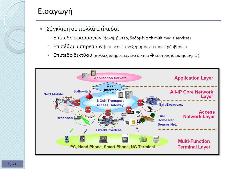 Εισαγωγή  Σύγκλιση σε πολλά επίπεδα: ◦ Επίπεδο εφαρμογών (φωνή, βίντεο, δεδομένα  multimedia services) ◦ Επιπέδου υπηρεσιών (υπηρεσίες ανεξαρτήτου δικτύου πρόσβασης) ◦ Επίπεδο δικτύου (πολλές υπηρεσίες, ένα δίκτυο  κόστους ιδιοκτησίας: ↓) 7 / 21